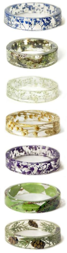 6741fa29f90 Love these clear resin rings with actual flowers inside them.