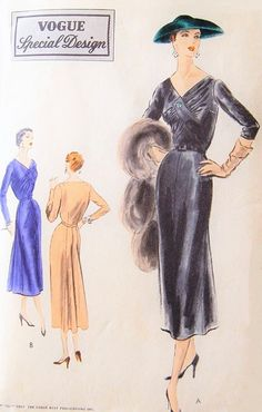 1950s Stunning Dress Pattern VOGUE SPECIAL DESIGN S-4460 Beautiful Draped Bodice V Neckline Slim Front  Flared Back Panel Day or Evening Wear Bust 32 Vintage Sewing Pattern