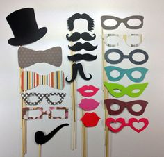 Wedding  Party Photo Booth Props Set of 21 For by EyesOfDisguise, $14.99