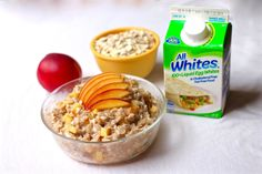 Egg White Oatmeal with Nectarines- A new take on an old favorite! AllWhites® 100% Liquid Egg Whites #sponsored