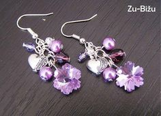 ♥MY Earrings♥ZĽAVA Fialové vločky :) by zu. - SAShE.sk - Handmade Náušnice