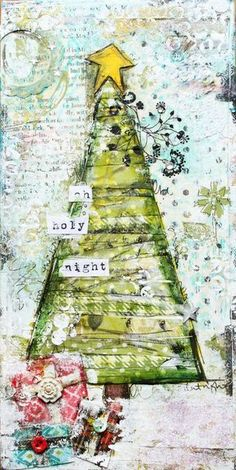 Christmas tree canvas - mixed media