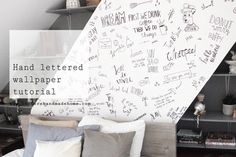 Hand letter your own wallpaper with this tutorial by www.hestershandmadhome.com