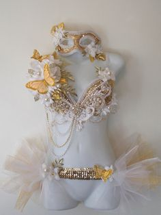 Pre Made Gold and White Masquerade Outfit Bra by RevoltCouture