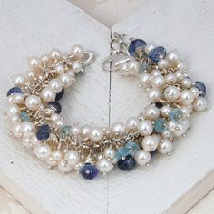 White Freshwater Pearl and Gemstone Bracelet by IndiviJewels, $395.00