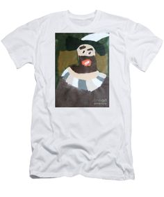 Patrick Francis White Designer Slim Fit T-Shirt featuring the painting Rembrandt 2014 - After Rembrandt Self-portrait by Patrick Francis
