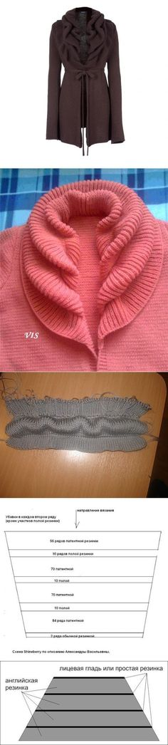 Interesting neckband, too bad I don't speak Russian, but by looking at the pictures, it seems to be alternating full fisherman's rib and tubular rows. Starts at the outer edge and decreases toward neck. Very clever.
