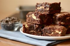 Goat cheese brownies; a sugared, tangy layer of goat cheese swirled between two layers of salted dark chocolate