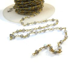 Labradorite Rosary Chain Gold Plated Wrapped by LillysBeadBox