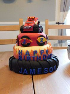 Blaze and the monster machine cake for my nephew