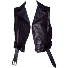 Pre-owned Ruffo Black Leather Motorcycle Vest (645 AUD) ❤ liked on Polyvore featuring outerwear, vests, vest, jackets, sleeveless waistcoat, vest waistcoat, black zip up vest, leather vest and leather waistcoat