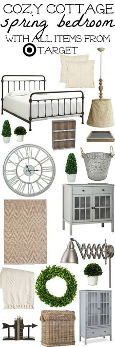 Cozy cottage spring bedroom design - With all items from Target! A must pin for cottage bedroom inspiration with links to all the items.
