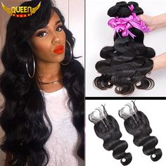 7A Malaysian Virgin Hair With Closure 3PCS Malaysian Body Wave With Closure,Malaysian Hair Bundles With Lace Closures Baby Hair