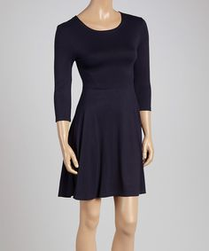 Look at this French Navy Fit & Flare Dress on #zulily today!