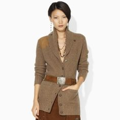 Ralph Lauren Wool Cashmere Shawl Cardigan - I love patches!