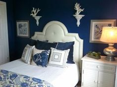 Here are some wonderful blue bedroom color schemes from professional designers and homeowners that may help you design a lovely blue sanctuary for sleep.: Dark Blue Bedroom Idea