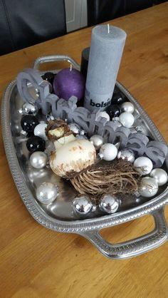 #christmas #tray #amaryllis #purple #gray #black and #white