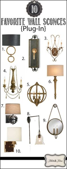 No electricity for a sconce?  No problem!  Here are 10 gorgeous plug-in wall sconces via TIDBITS&TWINE!  Post includes links to sources.