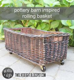 DIY:  Pottery Barn Inspired Rolling Basket Tutorial - casters, glue & spray paint is all you need to dress up a basket.