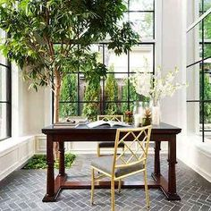 Atrium Ideas, Transitional, den/library/office, Benjamin Moore Fog Mist, House & Home