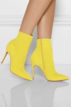 Pop of color, chartreuse suede ankle boots #Christian Louboutin