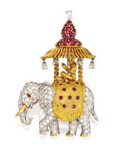 Marie Poutine's Jewels & Royals: A platinum, 18 karat gold, diamond, and ruby elephant brooch. Elephant Jewelry, Animal Jewelry, Antique Jewelry, Vintage Jewelry, International Jewelry, Pear Shaped Diamond, Fine Jewelry, Jewellery, Gemstones