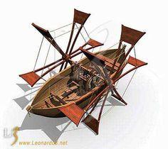 Leonardo DaVinci (1452-1519 @67) inventions ••BARCA A PALE•• Un'imbarcazione pensata per essere più pratica di quella a remi. Con le pale i manovratori azionano le grandi ruote laterali fornendo alla barca un moto senza interruzioni. Codice Atlantico, 1487-1489.