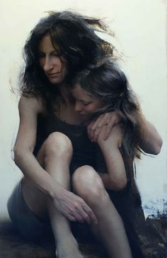 Artist: Daniel Sprick {contemporary figurative woman mother with child female painting} Cherished !!