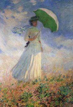 Моне - Женщина с зонтиком, смотрящая направо