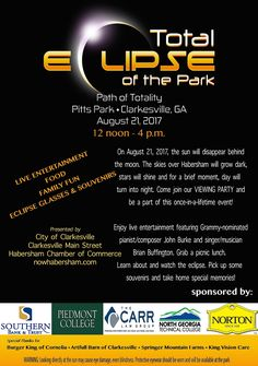 The Great American Solar Eclipse is just one month away and you're invited to a party at Pitts Park in Clarkesville to watch it unfold!