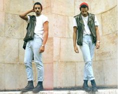 Dr. Martens Leather Boots, H&M Leather Vest, Levi's® Vintage Levis Jeans, Topman White T Shirt