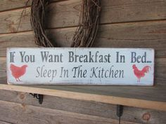 "Country home decor,Primitive country hand painted wood kitchen sign, distressed to make it look like an old vintage sign, it measures 24"" X 7"" . it has a rooster and chicken graphic ,and comes ready t"