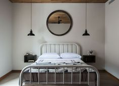 Matching hanging pendant bedside lamps.