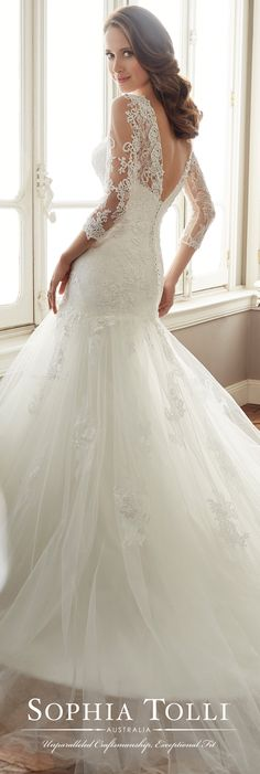 Sophia Tolli Spring 2017 Wedding Gown Collection - Style No. Y11720 Felicity - long sleeve lace and tulle wedding dress with illusion neckline and V-back