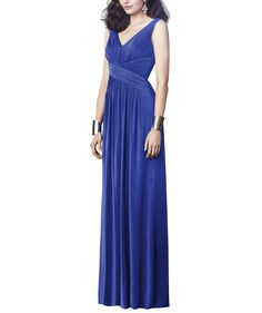 DescriptionDessy Collection Style2913Fulllength bridesmaid dressSleeveless,V-necklineCriss cross draped midriffShirring at front and back skirtMaracaine jersey