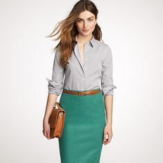 Love this outfit! Definitely want to check into this navy check shirt ($68, J Crew).