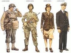 These are some American WW2 uniforms. There is a paratrooper, rifleman, radio operator and captain. I will use these uniforms and equipment to decide on the gear that i will outfit them with in the steampunk, cyberpunk and dieselpunk.