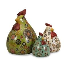 Canvon Chickens - Set of 3 - Based on our best-selling Folk Art Piggy Bank the whimsical painting is now available on this adorable set of chickens. Perfect for kitchen displays, these chickens are a must have for any avid collector! Hen Chicken, Chicken Art, Chicken Kitchen, Decorative Objects, Decorative Accessories, Decorative Accents, Ceramic Chicken, Rooster Decor, Painted Gourds