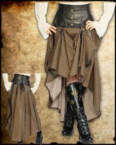Steampunk Long Black Brown Stripe Corset Skirt Intrepid Cog Jawbreaker Copper