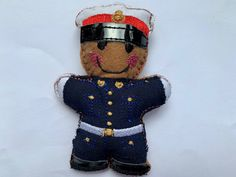 Royal Marine Gingerbread Man in dress uniform. For full details please follow link to my Shopify shop. #royalmarine #soldier #soldiers Royal Marines, Gingerbread Man, Letterbox Gifts, Work Gifts, Men Gifts, Black Ribbon, Armed Forces, Men Dress, Unique Gifts