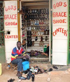 Love this shoe shop in Mengo, Kampala.