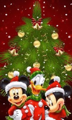 Disney Christmas - Mickey, Minnie, and Donald Mickey Minnie Mouse, Mickey Mouse Y Amigos, Mickey Mouse And Friends, Walt Disney, Disney Fun, Disney Mickey, Donald Disney, Disney Pics, Mickey Christmas