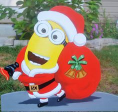Sant Clause minion is ready to go. Christmas is coming fast Lawn Signs diy christmas gifts, amazing christmas gifts, four christmas gifts Minion Christmas, Christmas Yard Art, Christmas Yard Decorations, Christmas Party Games, Christmas Wood, Christmas Crafts, Christmas Ornaments, Lawn Decorations, Christmas Labels