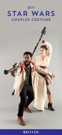 Go to a galaxy far, far away with this Star Wars: The Force Awakens Finn + Rey DIY Halloween couples costume tutorial.