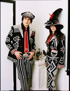 ButtonArtMuseum.com - The White Stripes wearing Pearly Kings and Queens outfits