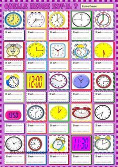 Quelle heure est -il? Ecrire l'heure | Français Langue étrangère | Scoop.it