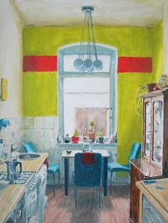 Rooms waiting - Berlin Kitchen  Painting by Magda Jarzabek    Magda Jarzabek