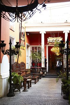 Colonial entrance to Restaurant Rustica.