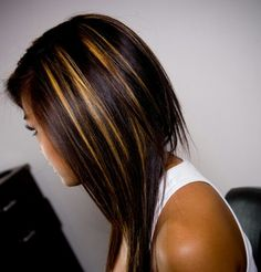 Highlights on dark hair..i like this Krissa