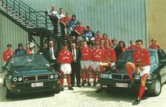 Royal Antwerp FC players in the 1992/93 season presenting one of their sponsors, in this case Lancia.